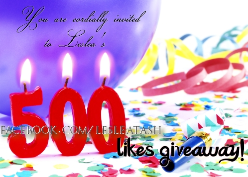 500 likes giveaway on Facebook - Leslea Tash